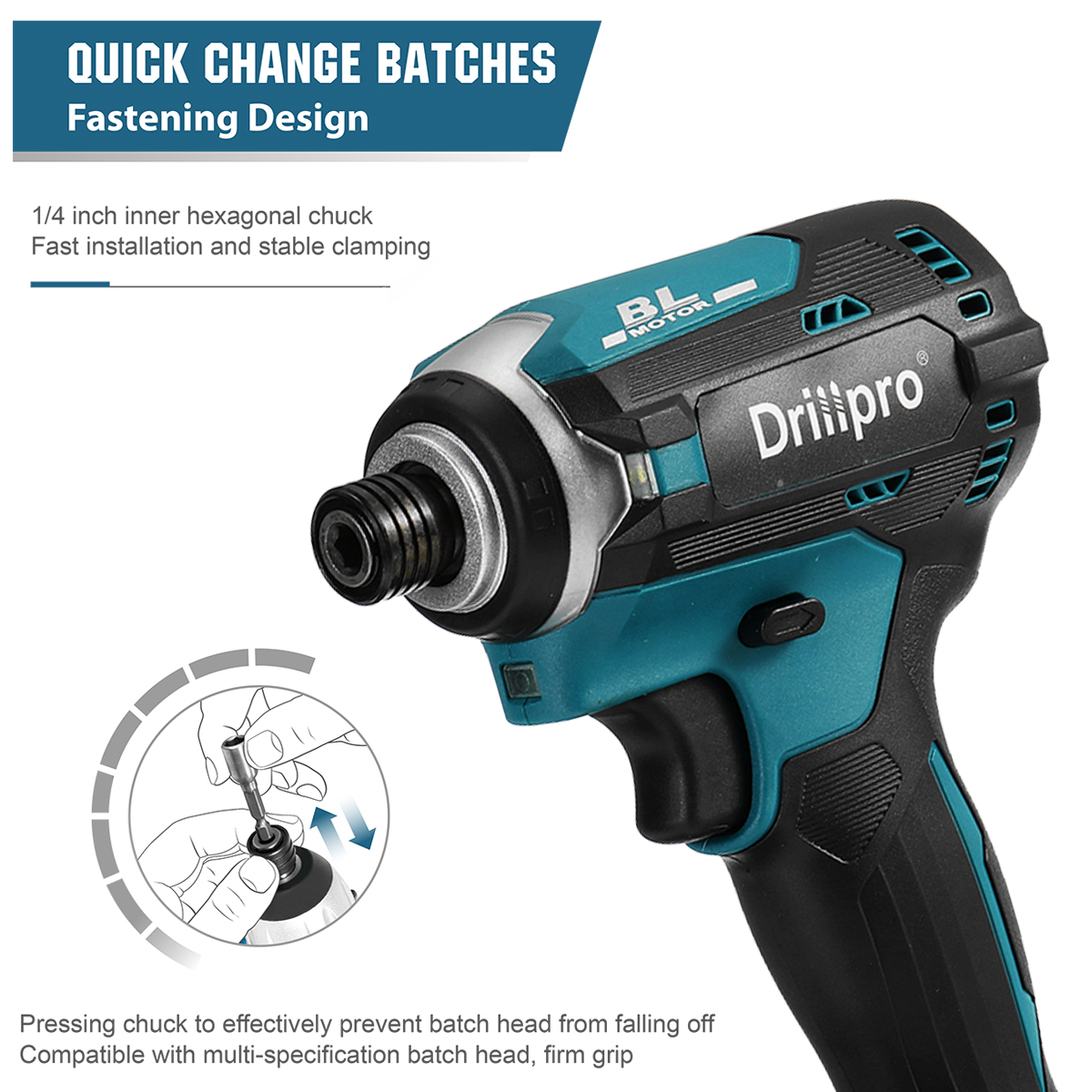 Tools : 18V Cordless Electric Screwdriver Speed Brushless Impact Wrench Rechargable Drill Driver  3 LED Light For Makita Battery
