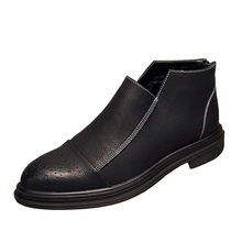 Fashion Chelsea Boots Men Ankle Boots High Top Zip Suit Shoes  Spring Autumn New Brock Carved Casual Leather Shoes Men Shoes vianoch new fashion womens ankle boots casual flats shoes black zip up autumn spring shoe lady size 40 41 42 wo1808101