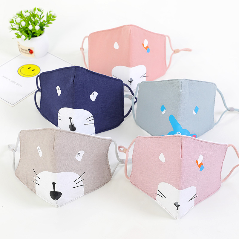 Kids Child Cute Cartoon Print Anti Dust Cotton Face Mouth Masks Boys Girl Reusable Washable Adjustable Earloop Fabric Mask Cover