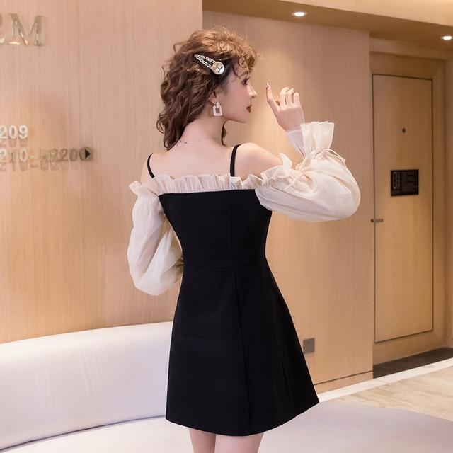 COIGARSAM Sexy Women one-piece dress korean Spaghetti Strap Dresses Black 6968 4