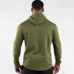 Image 5 - Armée vert décontracté sweat à capuche pour homme coton sweat gymnases Fitness entraînement pull printemps mâle vêtements de sport à capuche hauts marque vêtements