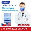 Máscaras desechables de 50 Uds., gruesas telas no tejidas, 3 máscaras protectoras, capa soplada por fusión, máscaras antibacterianas azules a prueba de polvo