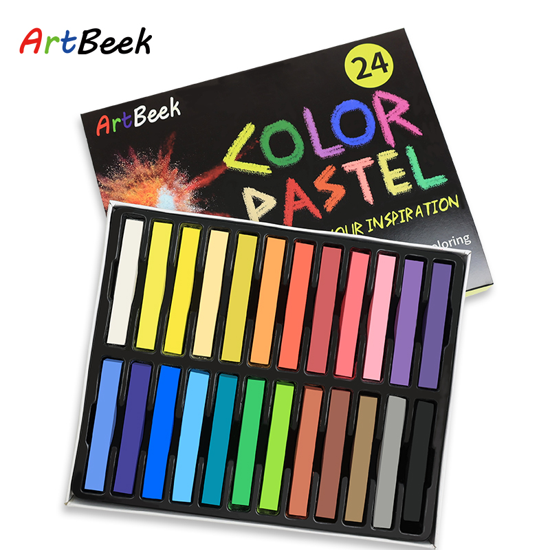 ArtBeek 24 Colors Soft Pastels Painting Set Art Drawing Chalk Crayon Brush