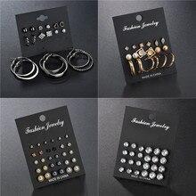 VAGZEB Heart Flowers Vintage gold Stud Earrings Set New Fashion Rhinestone imitation Pearl for Women Gift
