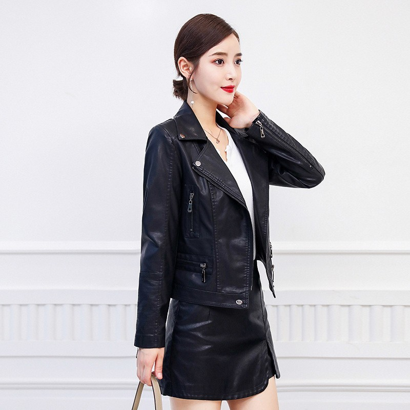 Sexy 2020 Women Slim Fit Mini Skirt Shorts Pu Leather Jacket Two Piece Set Office Lady Casual Short Jacket Outfits Matching Sets
