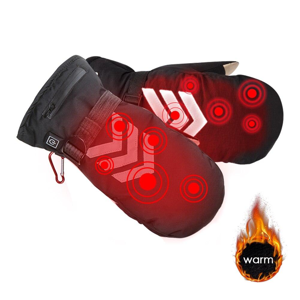 Перчатки с подогревом, варежки с перезаряжаемой литиевой батареей, 3 скорости, регулировка температуры, теплые Светоотражающие перчатки для улицы