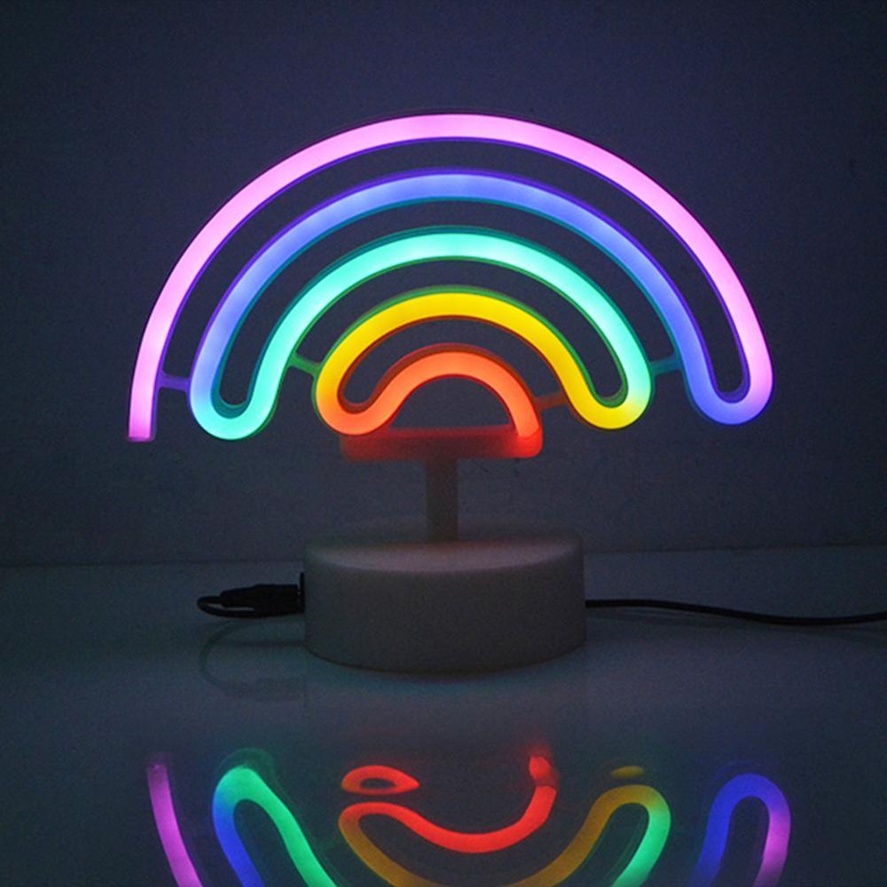 USB LED néon lumières de nuit arc-en-ciel licorne enseigne au néon luminaria Batterry puissance lampe de Table pour enfants chambre décor lampara