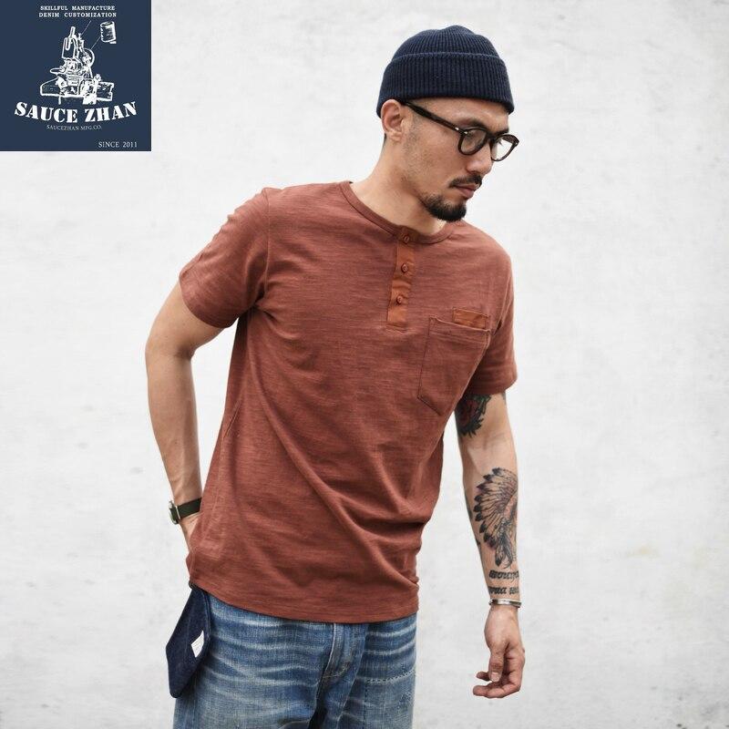 SauceZhan Two-color Double-pocket Henry T-shirt Men's Henry Collar Short Sleeve Contrast Short Sleeve Men's T-shirt  T Shirts