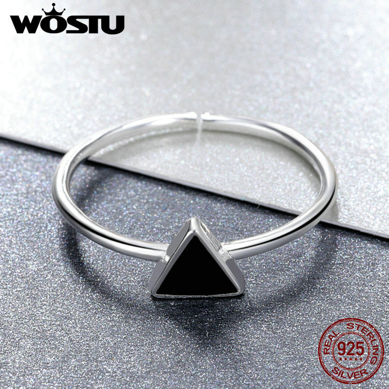 WOSTU Real 925 Sterling Silver Geometric Triangle Open Finger Rings For Women Man Cool Fine Jewelry Adjustable Ring Gift CSR158