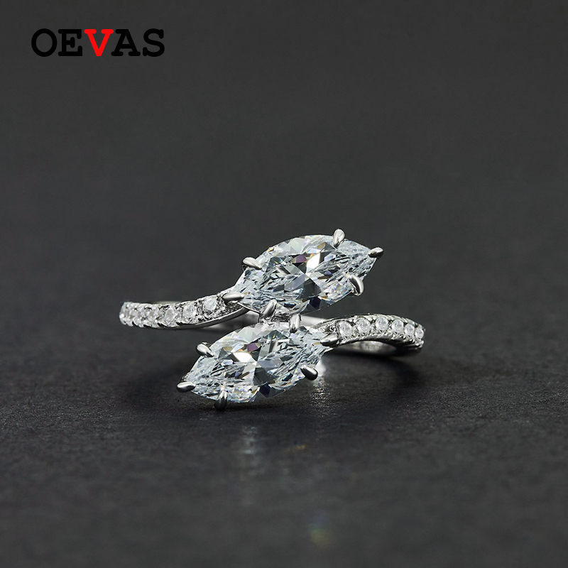 OEVAS Luxury 100% 925 Sterling Silver Created Moissanite Gemstone Birthstone Wedding Engagement Ring Fine Jewelry Gift Wholesale