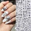 1 лист 3D наклейки для ногтей черно-белые Геометрические Цветочные буквенные узоры клейкие переводные наклейки для дизайна ногтей DIY Дизайн ...