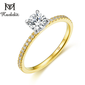 Image 1 - Kuololit Real 10K Yellow gold Natural Moissanite Rings for Women VVS D color Solitaire set ring for anniversary wedding promise
