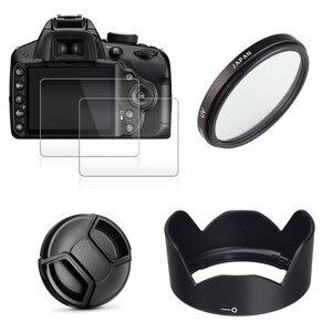 Image 1 - 49mm UV מסנן + EW53 עדשת הוד + כובע + 2x זכוכית מסך מגן עבור Canon EOS M10 M50 m100 M200 M6 Mark II עם 15 45mm עדשה
