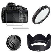 49mm UV + EW53 Lens Hood + Mũ Lưỡi Trai + 2X Kính cho Canon EOS M10 M50 m100 M200 M6 Mark II với 15 45mm