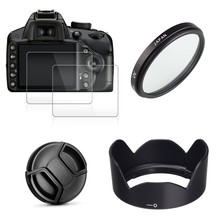 49mm UV Filter + EW53 Lens Hood + Cap + 2x Glass Screen Protector for Canon EOS M10 M50 M100 M200 M6 Mark II with 15 45mm Lens