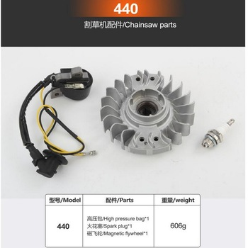 Free shipping of Igniter/high packet/fly wheel for MS440 gasoline chainsaw aftermarket repair&replacement with high cost effect of the magnesium alloy made brake side cover for gasoline chainsaw 380 381aftermarket repair
