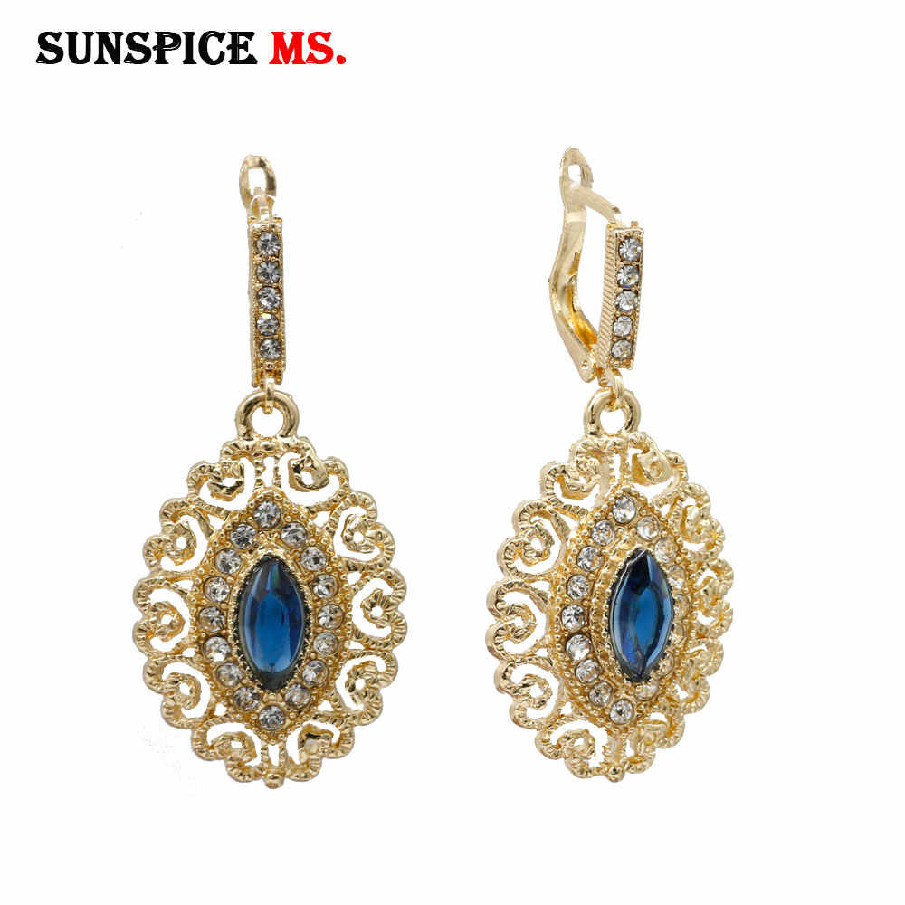 SUNSPICE MS gold color Moroccan wedding jewelry women flower drop earrings red&green&blue crystal turkish ethnic bridal bijoux