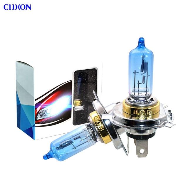 4 шт. галогенная лампа H4 12V 100/90W 5000K Ксеноновые темно синие стеклянные лампы для автомобильных фар супер белый