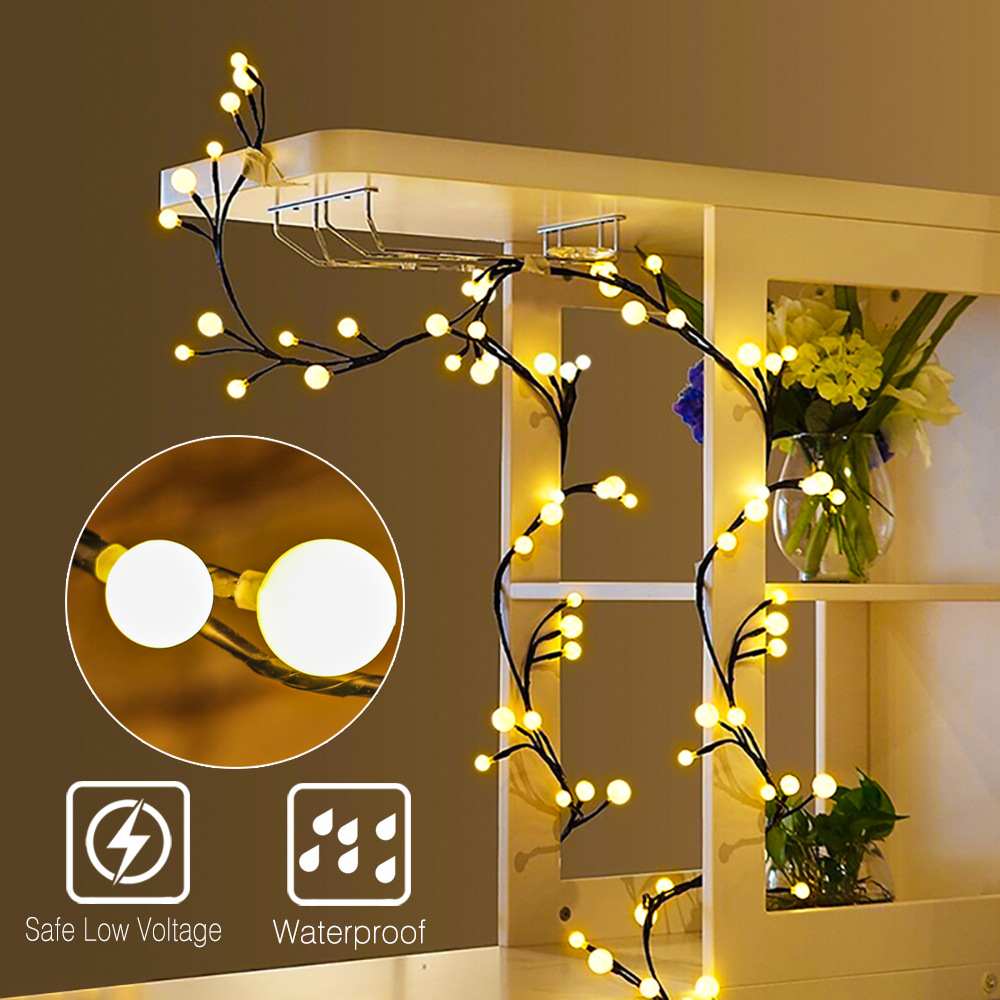 DIY Branch Rattan String Lights Globe Led Garland Tree Light Twinkle For Party Wedding Room Decoration Christmas Holiday Lights
