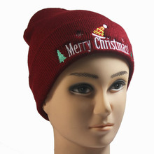 New European and American men women Christmas wool hat Merry embroidery knit head