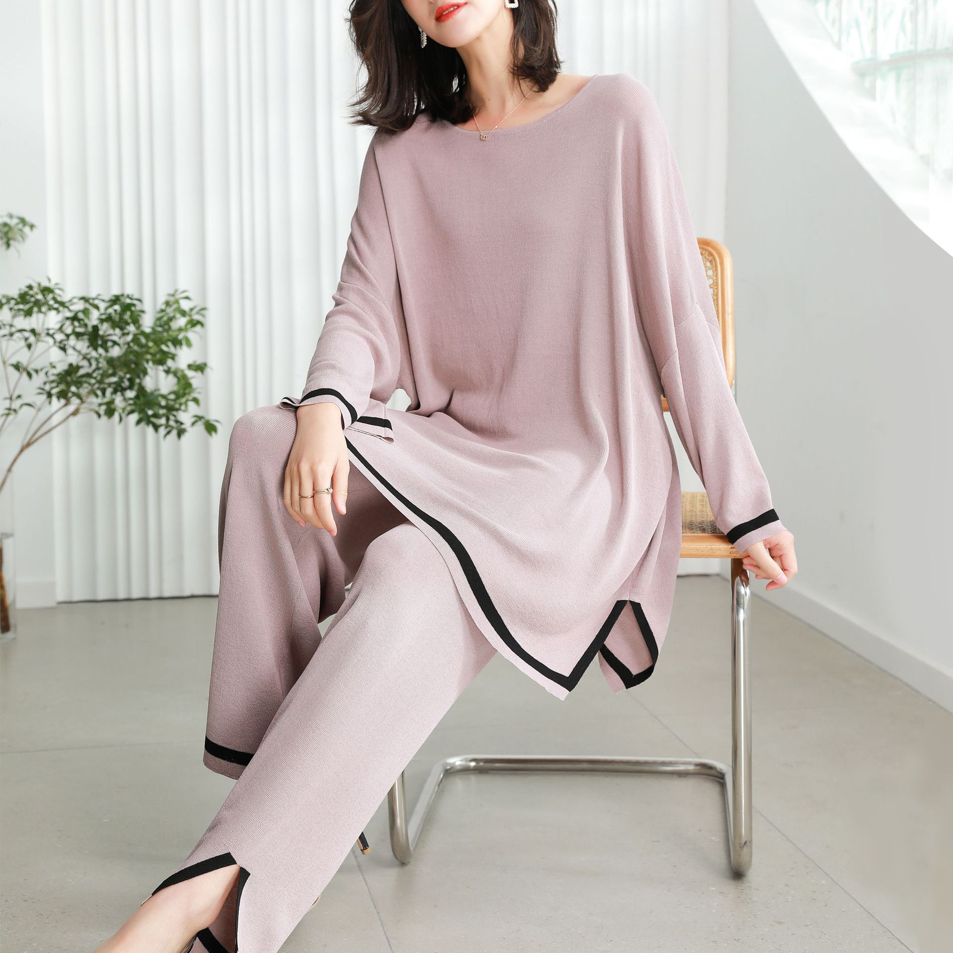 2021 Spring New Fashion Large Size Women's Suit Casual Loose Knitted Batmobile Shirt Wide Leg Pants Two-piece Women