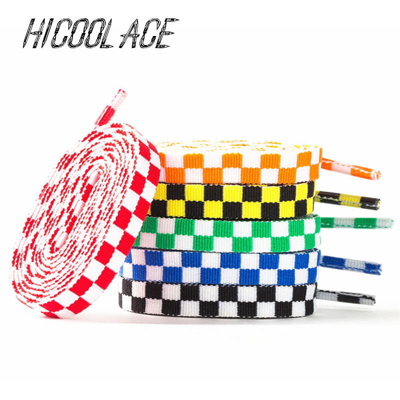 New Bestselling 1CM Width Colorful Shoelaces Check Shoelace Mosaic Shoe Laces 80/100/120/140CM Basketball Shoe Lace For Shoes