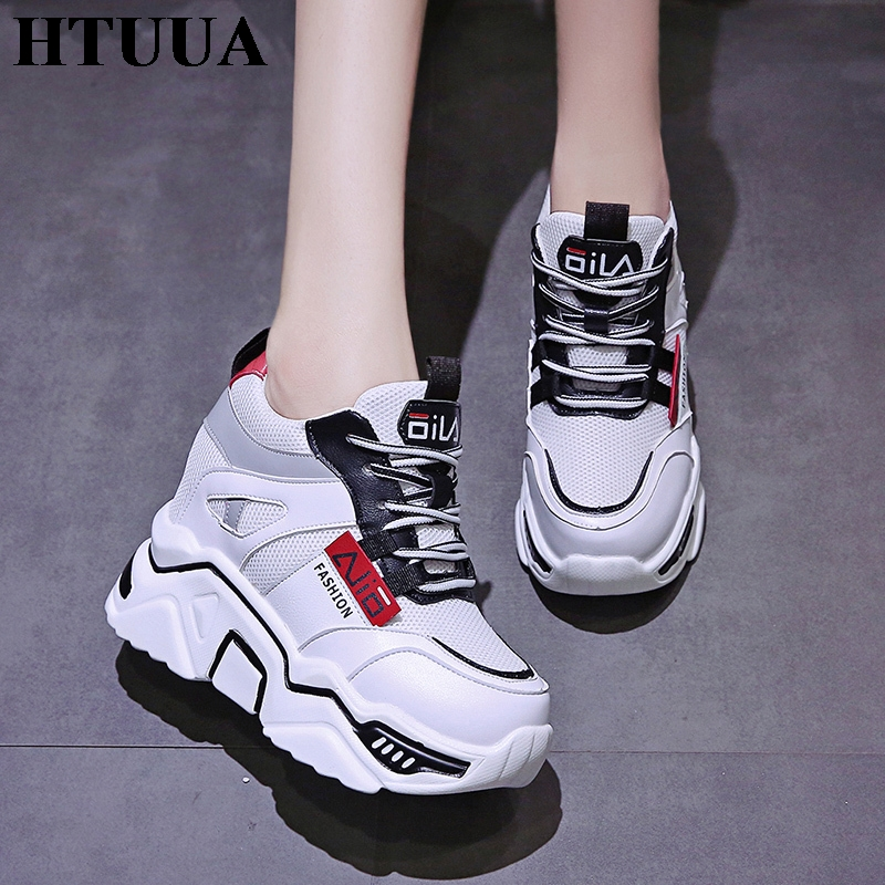 HTUUA Height Increasing 10CM Women's Sneakers Autumn Breathable Air Mesh Lace-Up White Casual Chunky Platform Sneakers SX3378