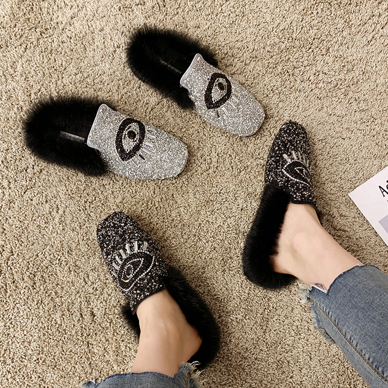 Designer Women Shiny Sequins Muller Shoes Brand Winter Faux Fur Female Eyes Applique Flats Girls Casual Outdoor Warm Flip Flop 26