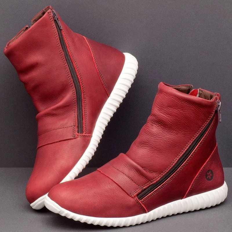 Kadın PU deri yarım çizmeler kadın sonbahar kış sivri burun fermuar kısa çizmeler düz bayan ayakkabıları kadın Botas Mujer boyutu 35 -43