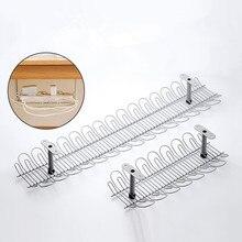 Multi purpose hanging basket Metal Table Bottom Shelf for plug socket Storage rack holder Home Office Desk Cable Wire Organizer