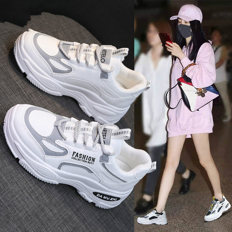 2020 Platform Spring Sneakers Women Fashion Female Pink Sneakers with High Sole Shoes Women High Top Sneakers Zapatos De Mujer