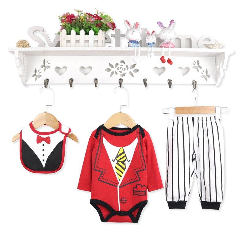 Children's Printed Gentleman Onesie Cotton Baby Jumpsuit Romper Baby Long Sleeve  09.30