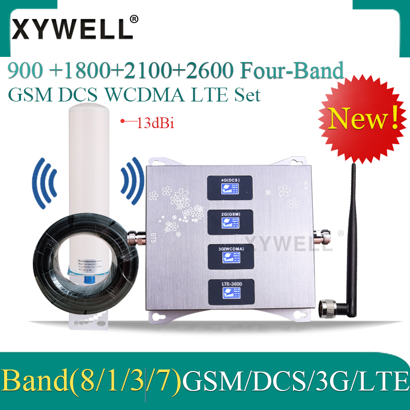New!! Cellular Amplifier 900 1800 2100 2600mhz Four-Band GSM Mobile Signal Booster GSM DCS WCDMA LTE 2G 3G 4G Cellular Repeater