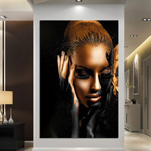 Black And Gold Women Oil Painting Modern Girl Portrait Canvas Painting Printed Pictures Home Decoration For Bedroom Posters()