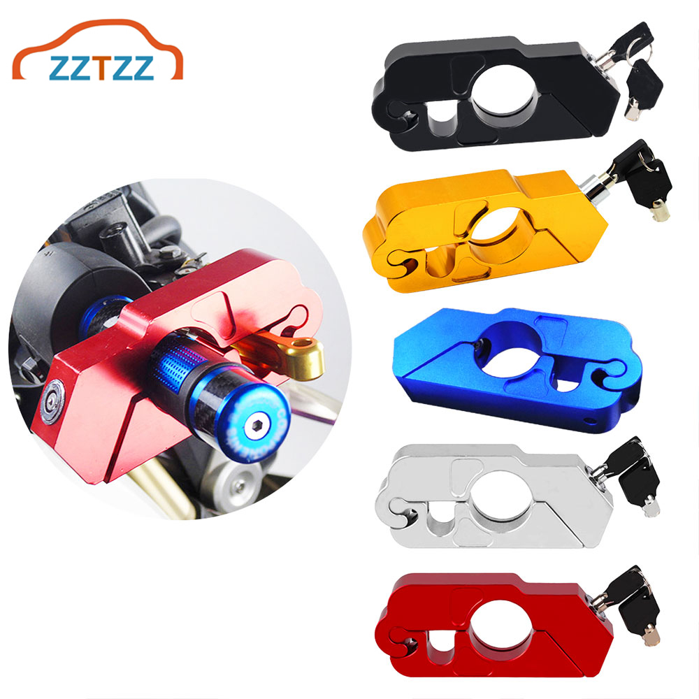 1Pcs Motorcycle Handle Grip Lock CNC Aluminum Brake Lever Theft Protection Locks Universal For Most Motorbike Scooter