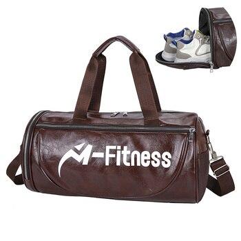 PU Travel Handbag Sports Gym Bag Men Women Training for Yoga Fitness Duffel Luggage Sac De Sport Bags Dry Wet Separation - discount item  35% OFF Sport Bags
