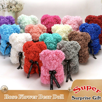 25cm Rose Flower Teddy Bear Toys Stuffed Animals Love Doll For Children Wedding Christmas Decorations Birthday Valentines Gift 1