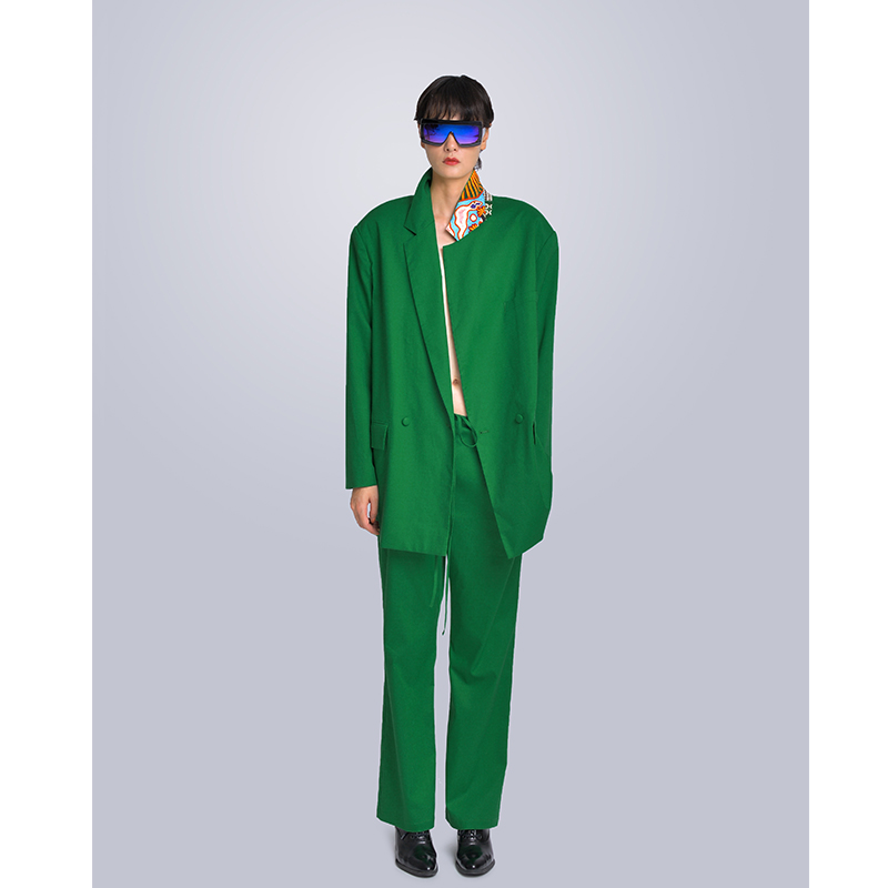 MISHOW Milan Fashion Week Spring/Summer 2020 Two Piece Set Female Turn Down Collar Single-breasted Green Jacket Long Pant Look-8