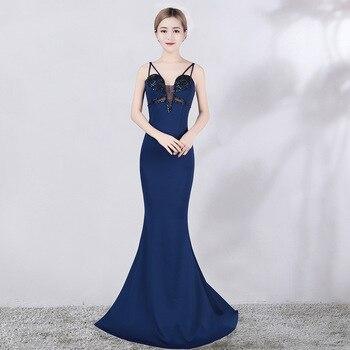 Crystals Evening Dress Deep V Neck Formal Mermaid Evening Gown Pageant Dresses kakahu ahiahi