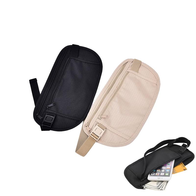 1pc Travel Storage Bag Money Security Purse Cards Waist Belt Tickets Bag Pouch