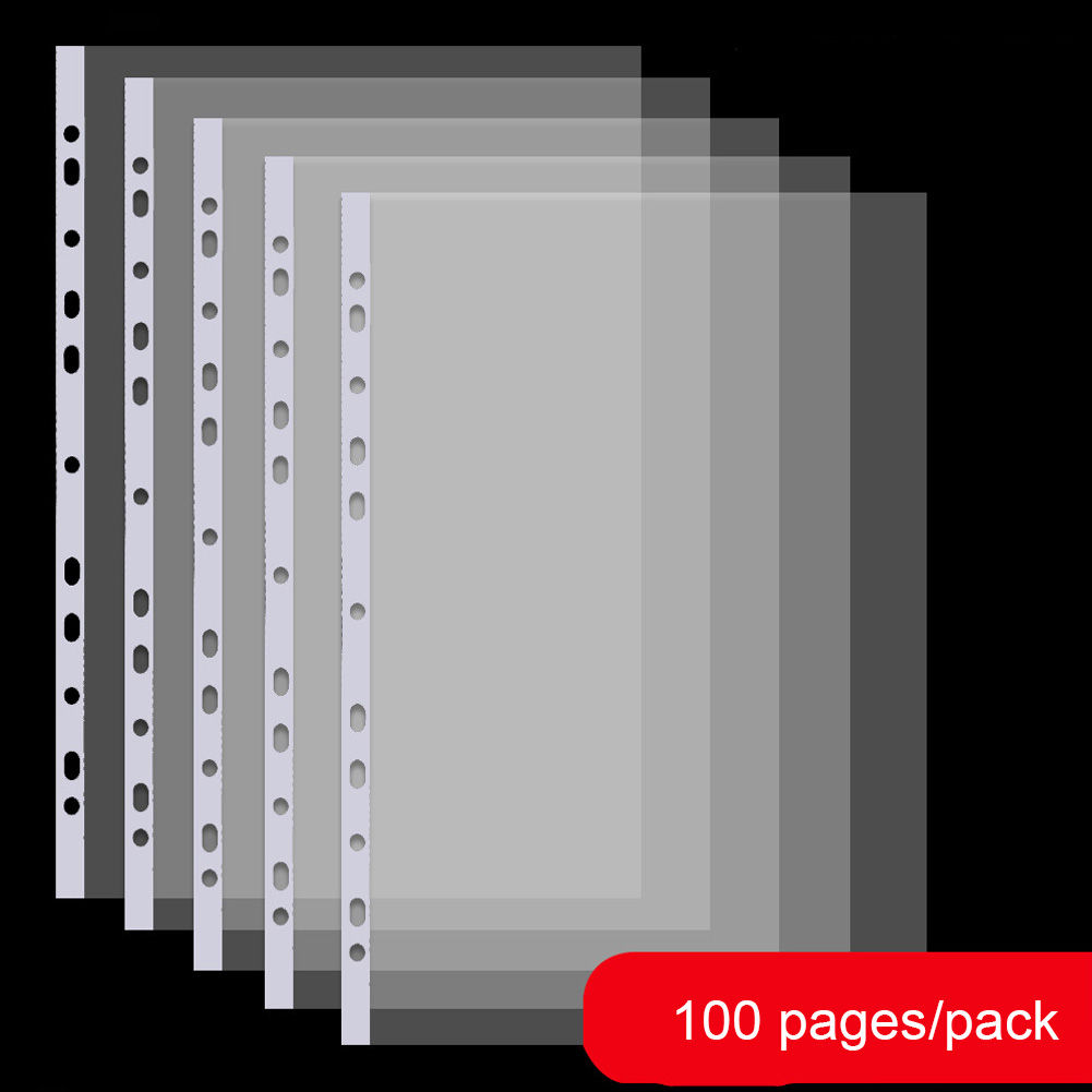 100 Pages/pack A4 Document Pocket Waterproof Loose-Leaf Transparent Clear Sheet Protectors PP File Holder 11-hole File Pouch