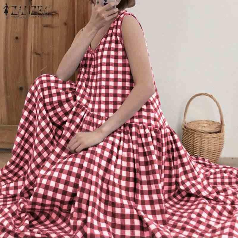 ZANZEA 체크 무늬 드레스 2020 여성 긴 맥시 드레스 보헤미안 민소매 Vestidos 코튼 린넨 가운 캐주얼 여름 Sundress 5XL