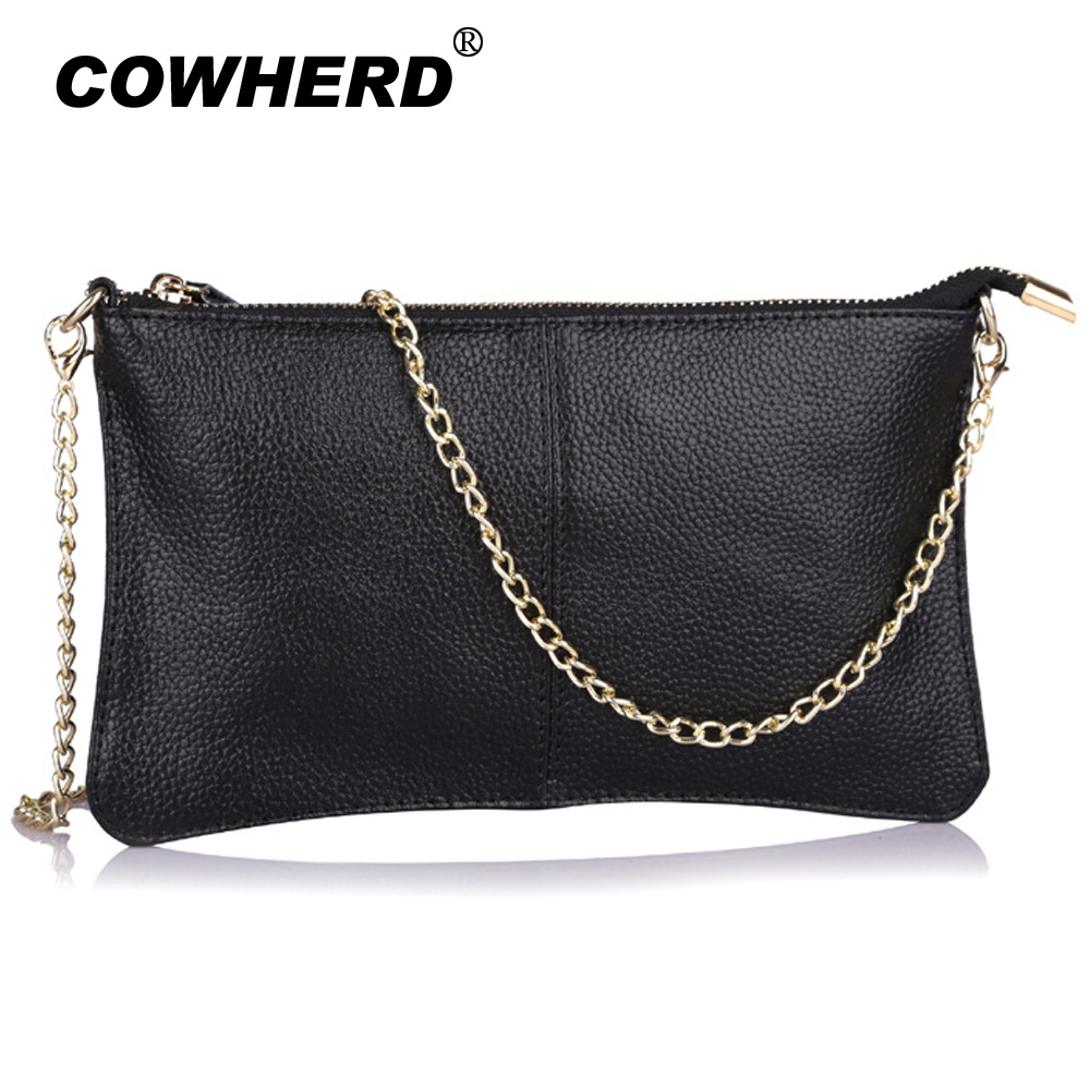 Handbags Women Purse Chains Shoulder-Bag Day-Clutch Casual Genuine-Leather with CN-906