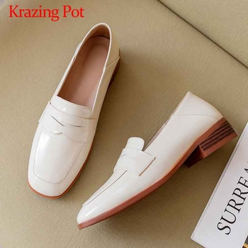 Krazing Pot classic basic simple style loafers shoes slip on solid round toe med heels women fashion daily wear casual pumps L29
