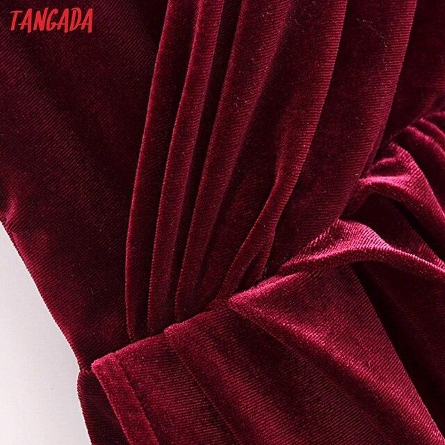 Tangada Women's Party Dress Red Velvet Midi Dress Strap Adjust Sleeveless 2021 Korean Fashion Lady Elegant Dresses QN45 4