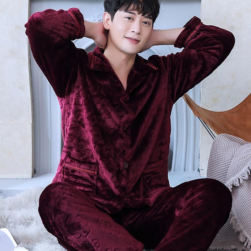 H5911 Pajamas Men Plus Velvet Thick Warm Sleepwear Suit Male Autumn Winter Long Sleeve Coral Fleece Flannel Large Size Nightwear