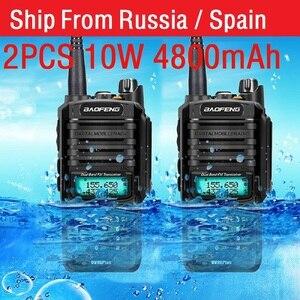 Image 1 - 2pcs high Power 10w Baofeng UV 9R plus Waterproof walkie talkie two way radio ham radio cb radio comunicador рация