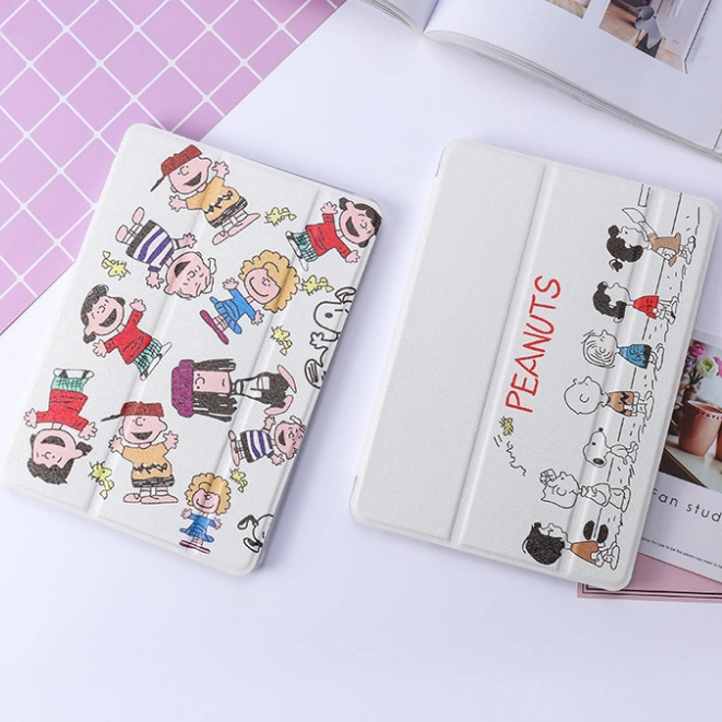 Cartoon Peanuts Pattern Soft Back Case For IPad Air 1/2 New IPad 9.7 Stand Cover For IPad 234 Pro10.5 Mini 12345 Auto Wake/Sleep