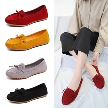 цена на Discount Women Shoes Fashion Loafers Flats Shoes Woman Flock Butterfly-knot Slip-On Solid Shallow Ladies Shoes Plus Size 35-43