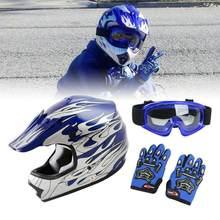 DOT młodzieży dzieci hełm ochronny niebieski płomień motor terenowy ATV MX kask motocrossowy gogle + rękawiczki ochrony hełm ochronny S M L XL